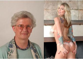 Paola Binetti con il suo cilicio e la tatuatissima Janine Lindemulder, la pornostar che compare sulla copertina del disco Enema of the State dei Blink 182